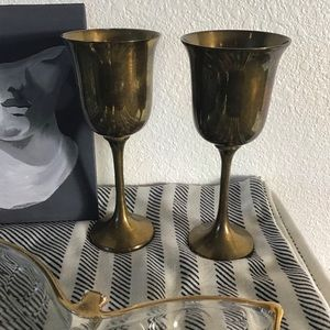 2 Vintage Brass Cup Candle Holders